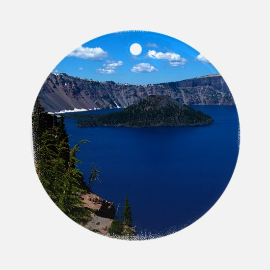(16) Crater Lake  Wizard Island Round Ornament
