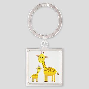 Giraffe3 Square Keychain
