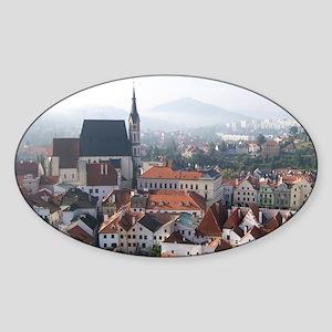Autumn mist spills over the medieva Sticker (Oval)