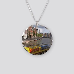 A DHL Express delivery boat  Necklace Circle Charm