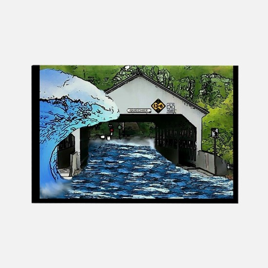 Quechee Bridge sticker black Rectangle Magnet