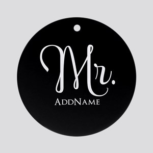Mr. & Mrs. Wedding Couple His and H Round Ornament