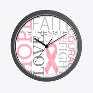 breastcancercollage Wall Clock