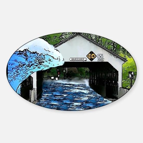 Quechee Bridge Wall Peel Sticker (Oval)