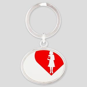 I-Love-Teachers-darks Oval Keychain