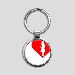 I-Love-Teachers-darks Round Keychain