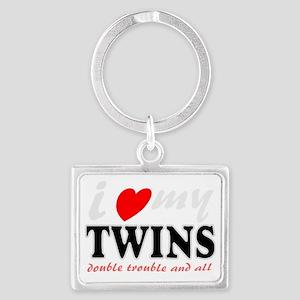 I heart my twins Landscape Keychain