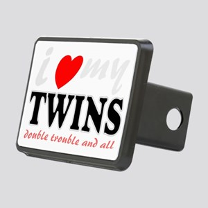 I heart my twins Rectangular Hitch Cover
