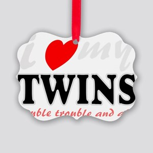 I heart my twins Picture Ornament