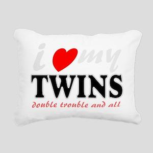 I heart my twins Rectangular Canvas Pillow