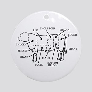 Beef Cow Ornament (Round)