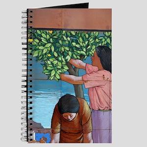 Amalfi. Tile mural showing lemon harvestrn Journal