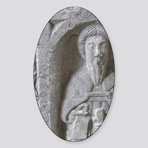 Medieval stone carving at Jerpoint  Sticker (Oval)