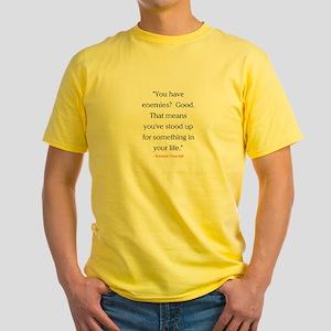 CHURCHILL QUOTE - ENEMIES Yellow T-Shirt