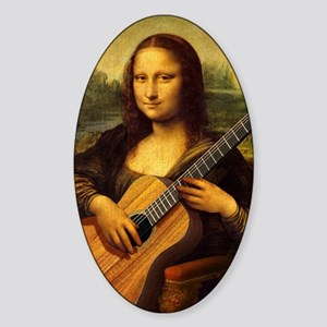 mona-guitar-LG Sticker (Oval)