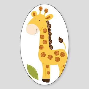 Yellow / Orange Cute Giraffe Sticker (Oval)