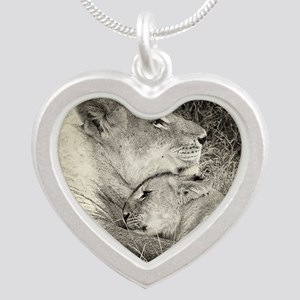 Tsalala Lioness and cub BW Silver Heart Necklace