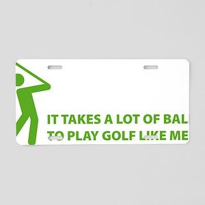 golfBalls3 Aluminum License Plate