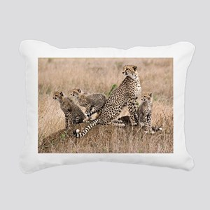 Cheetah and cubs5 -large Rectangular Canvas Pillow