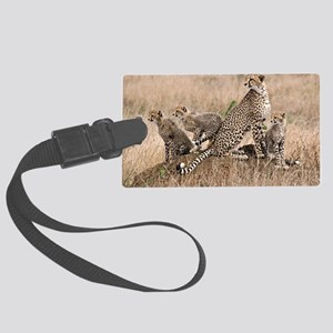 Cheetah and cubs5 -large Large Luggage Tag