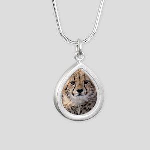 Cheetah Cub4-1large Silver Teardrop Necklace