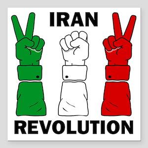 "IranRevolution-clear Square Car Magnet 3"" x 3"""