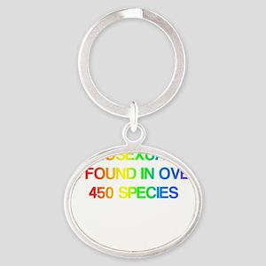 2000x2000homophobiarainbow2clear Oval Keychain
