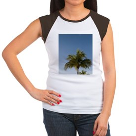 Morning sun lights palm Women's Cap Sleeve T-Shirt