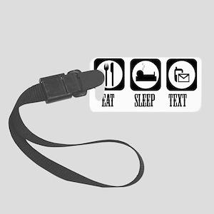 eat sleep Text Small Luggage Tag