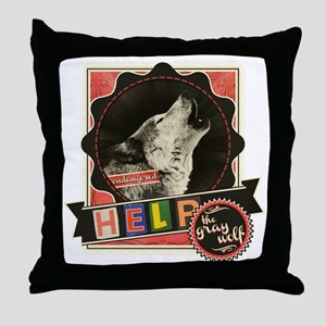 Endangered-gray-wolf-1 Throw Pillow