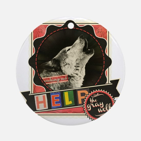 Endangered-gray-wolf-1 Round Ornament