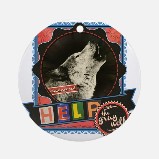 Endangered-gray-wolf-2 Round Ornament