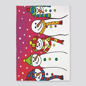 snowmen x5 l spine 5'x7'Area Rug