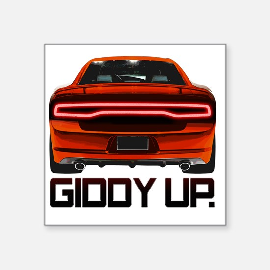 "Charger GiddyUp Square Sticker 3"" x 3"""