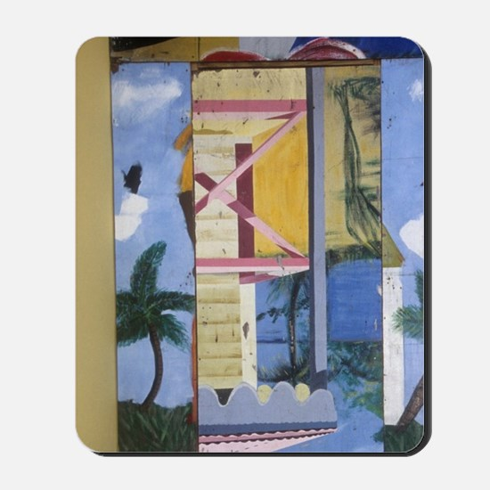 Croix, Christiansted, yellow stairs in f Mousepad
