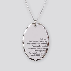 Fuck cancer 092511 Necklace Oval Charm