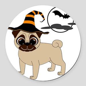 HalloweenPugFawn Round Car Magnet