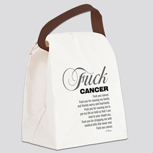 Fuck cancer White 092511 Canvas Lunch Bag