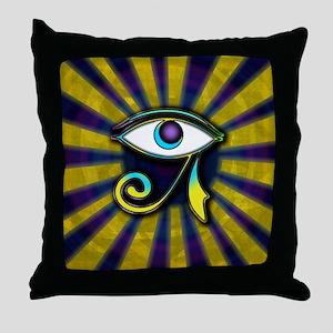 eyerayspurpgold Throw Pillow