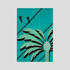 Cruz Bay. Palm tree window trim S Rectangle Magnet