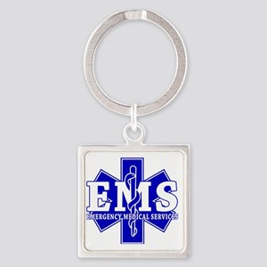 star of life - blue EMS word Square Keychain