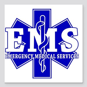 "star of life - blue EMS  Square Car Magnet 3"" x 3"""