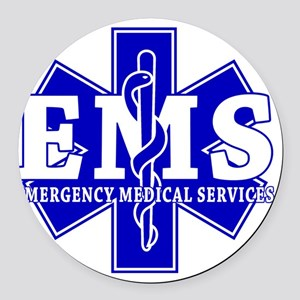 star of life - blue EMS word Round Car Magnet