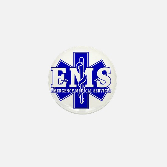 star of life - blue EMS word Mini Button
