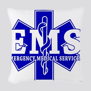 star of life - blue EMS word Woven Throw Pillow
