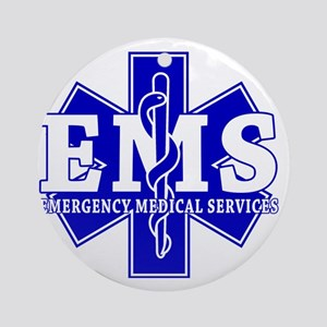 star of life - blue EMS word Round Ornament