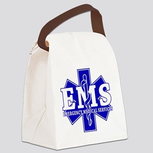 star of life - blue EMS word Canvas Lunch Bag