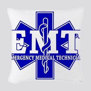 star of life - blue EMT word Woven Throw Pillow