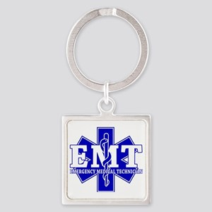 star of life - blue EMT word Square Keychain