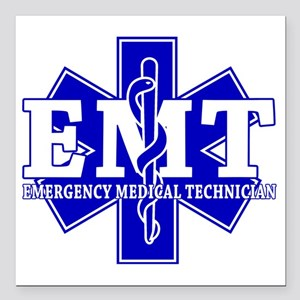 "star of life - blue EMT  Square Car Magnet 3"" x 3"""